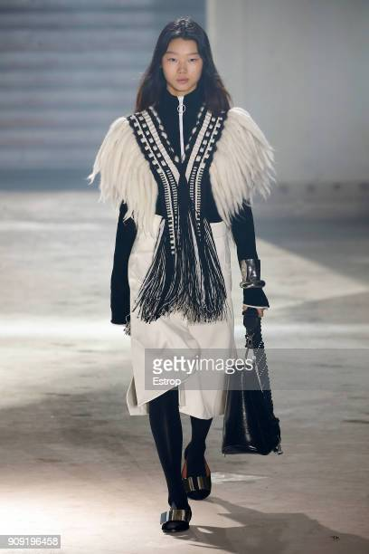 A model walks the runway during the Proenza Schouler ready to wear Fall/Winter 2018 show as part of Paris Fashion Week on January 22 2018 in Paris...