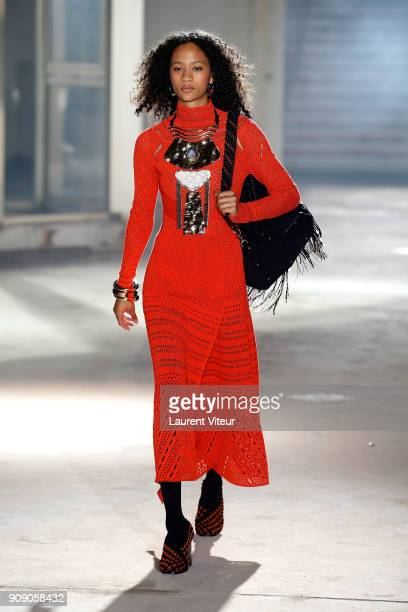 A model walks the runway during the Proenza Schouler RTW Fall Winter 2018 show as part of Paris Fashion Week on January 22 2018 in Paris France