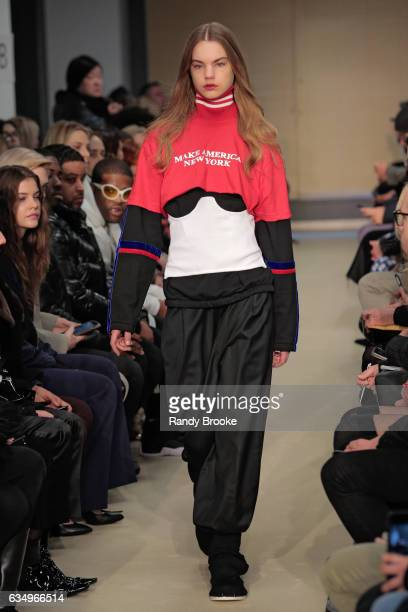 A model walks the runway during the Public School February 2017 show at New York Fashion WeekThe Shows on February 12 2017 in New York City