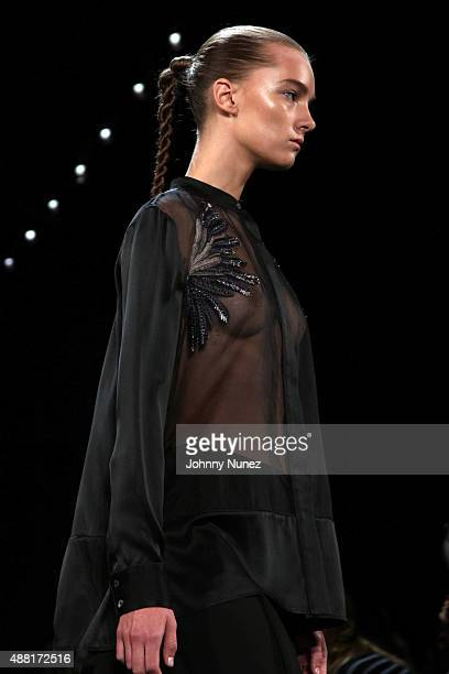 A model walks the runway during the Public School Spring 2016 presentation at The Cunard Building on September 13 in New York City