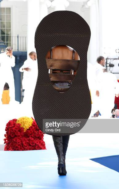 Model walks the runway during the Pyer Moss Couture Haute Couture Fall/Winter 2021/2022 show as part of Paris Fashion Week on July 10, 2021 in...