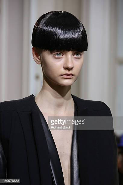 A model walks the runway during the Rad Hourani Spring/Summer 2013 HauteCouture show as part of Paris Fashion Week at Centre Culturel Canadien on...