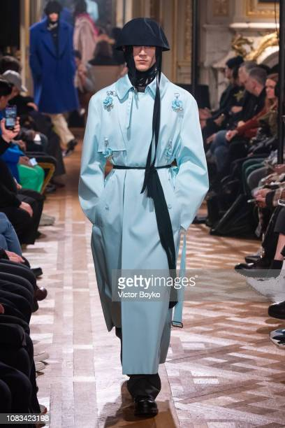 Model walks the runway during the Raf Simons Menswear Fall/Winter 2019-2020 show as part of Paris Fashion Week on January 16, 2019 in Paris, France.