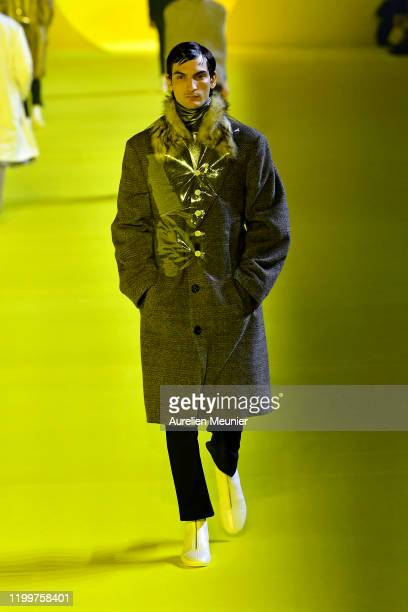 Model walks the runway during the Raf Simons Menswear Fall/Winter 2020-2021 show as part of Paris Fashion Week on January 15, 2020 in Paris, France.