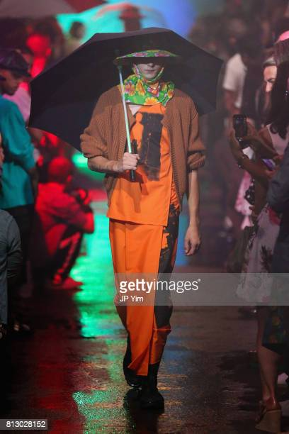 A model walks the runway during the Raf Simons Runway NYFW Men's July 2017 on July 11 2017 in New York City