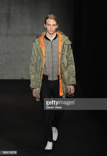 A model walks the runway during the Rag Bone Men's collection fall 2013 fashion show on January 30 2013 in New York City