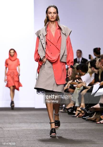 Model walks the runway during the Rag & Bone Women's Collection show during Spring 2013 Mercedes-Benz Fashion Week at Skylight Studios at Moynihan...