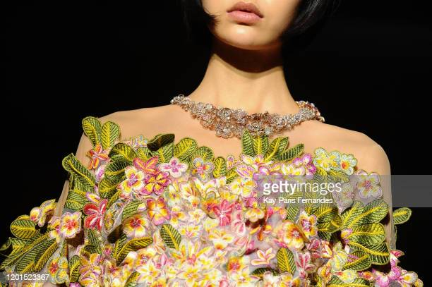 Model walks the runway during the Rahul Mishra Haute Couture Spring/Summer 2020 show as part of Paris Fashion Week on January 23, 2020 in Paris,...