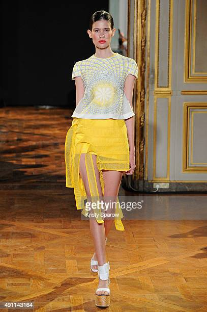 Model walks the runway during the Rahul Mishra show as part of Paris Fashion Week Womenswear Spring/Summer 2016 on October 3, 2015 in Paris, France.