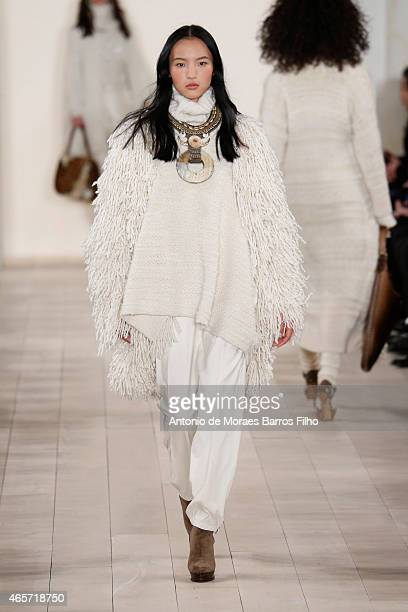 A model walks the runway during the Ralph Lauren fall 2015 fashion show at St Regis Hotel on February 19 2015 in New York City