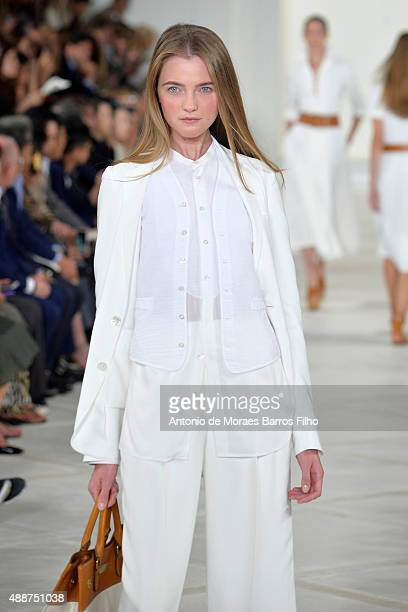 Model walks the runway during the Ralph Lauren show as a part of Spring 2016 New York Fashion Week on September 17, 2015 in New York City.