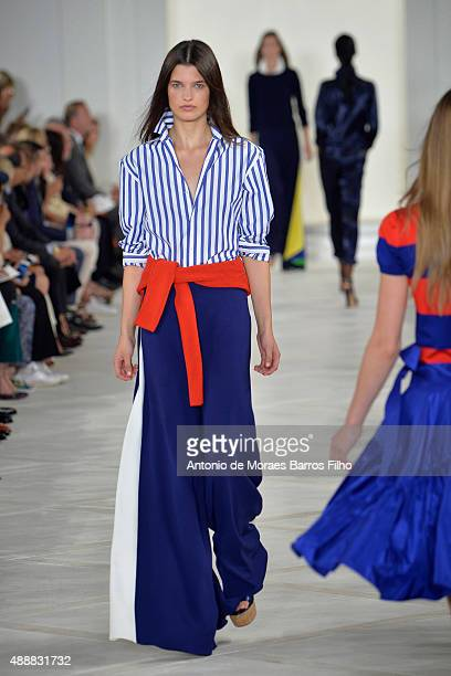 A model walks the runway during the Ralph Lauren show as a part of Spring 2016 New York Fashion Week on September 17 2015 in New York City
