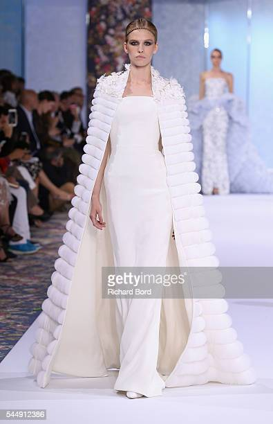 A model walks the runway during the Ralph Russo Haute Couture Fall/Winter 20162017 show as part of Paris Fashion Week on July 4 2016 in Paris France