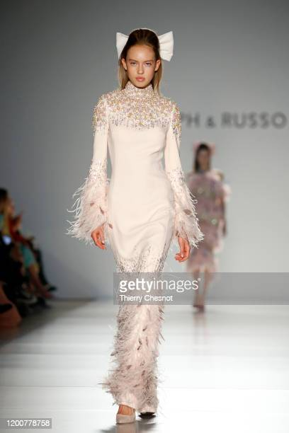 Model walks the runway during the Ralph & Russo Haute Couture Spring/Summer 2020 show as part of Paris Fashion Week on January 20, 2020 in Paris,...