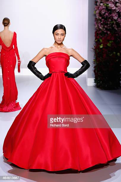 A model walks the runway during the Ralph Russo show as part of Paris Fashion Week Haute Couture Spring/Summer 2014 on January 23 2014 in Paris France