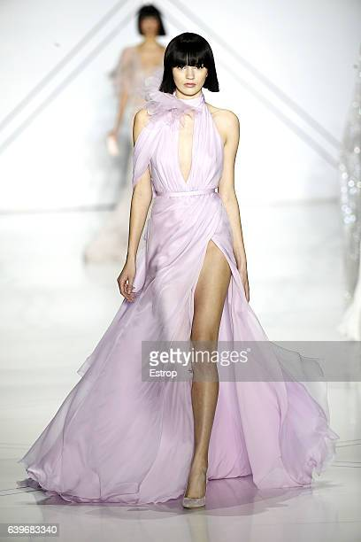 Model walks the runway during the Ralph & Russo Spring Summer 2017 show as part of Paris Fashion Week on January 23, 2017 in Paris, France.