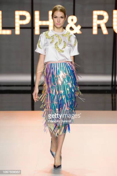A model walks the runway during the Ralph Russo Spring Summer 2019 show as part of Paris Fashion Week on January 21 2019 in Paris France