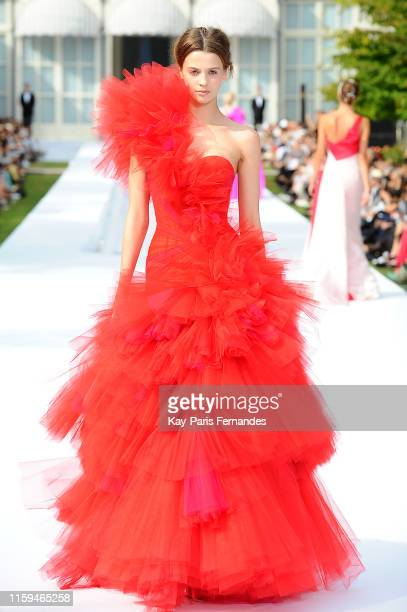 A model walks the runway during the RalphRusso Haute Couture Fall/Winter 2019 2020 show as part of Paris Fashion Week on July 01 2019 in Paris France