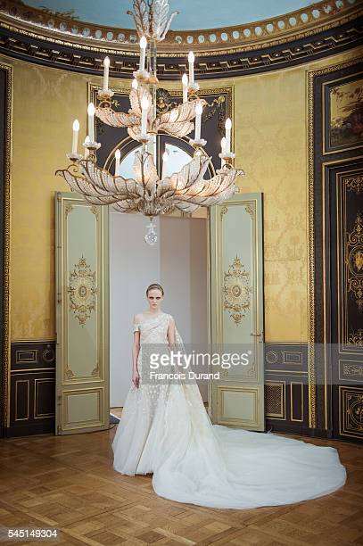 Model walks the runway during the Rami Al Ali Haute Couture Fall/Winter 2016-2017 show as part of Paris Fashion Week at Hotel D'Evreux on July 5,...