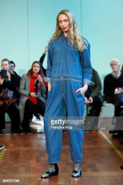 Model walks the runway during the Rebekka Ruetz Fashion Show at Embassy of Austria on January 16 2018 in Berlin Germany