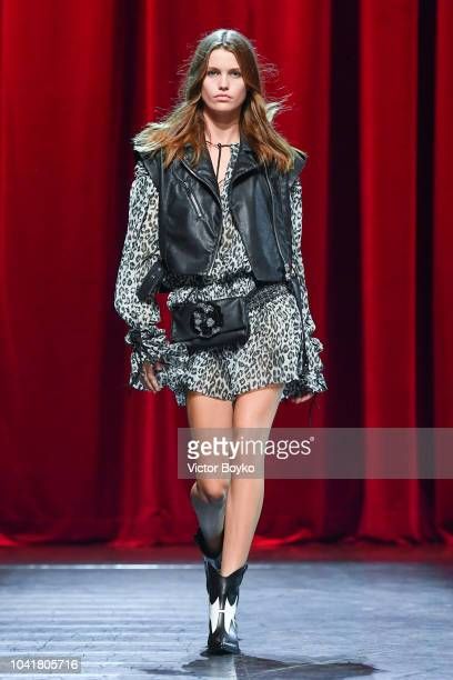 A model walks the runway during the Redemption Presentation as part of the Paris Fashion Week Womenswear Spring/Summer 2019 on September 27 2018 in...