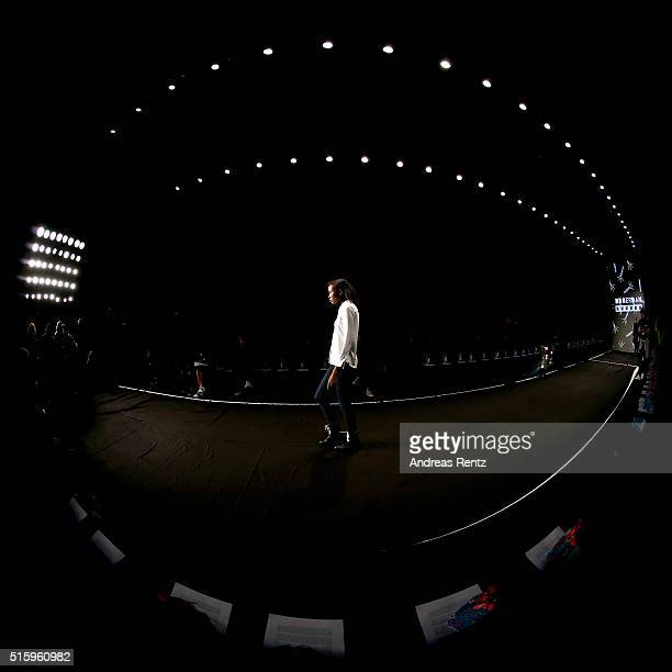A model walks the runway during the rehearsal for the DB Berdan show as part of the MercedesBenz Fashion Week Istanbul Autumn/Winter 2016 at Zorlu...