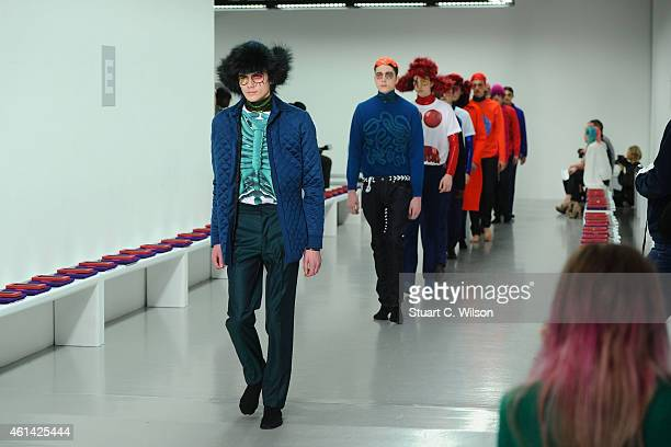 A model walks the runway during the rehearsal of the Katie Eary show at the London Collections Men AW15 at Victoria House on January 12 2015 in...