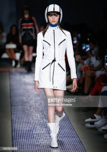 A model walks the runway during the Reinaldo Lourenco fashion show during Sao Paulo Fashion Week N46 Winter 2019 at Arca on October 23 2018 in Sao...
