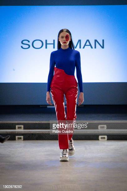 Model walks the runway during the 'Relieve' fashion show at the White Lab Gallery on February 17, 2021 in Madrid, Spain.