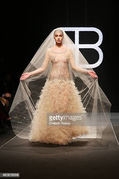A model walks the runway during the Renato Balestra fashion show as a part of AltaRoma 2015 at Auditorium Parco Della Musica on February 1 2015 in...