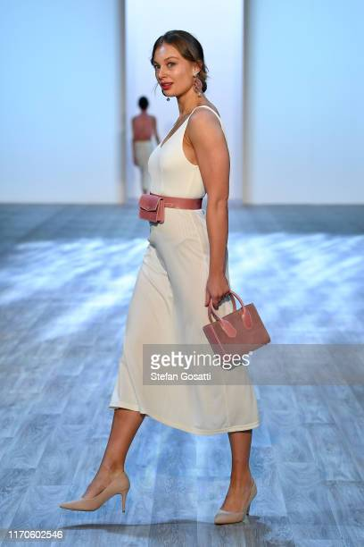 A model walks the runway during the Rhemy Collections show during New Zealand Fashion Week 2019 at Auckland Town Hall on August 28 2019 in Auckland...