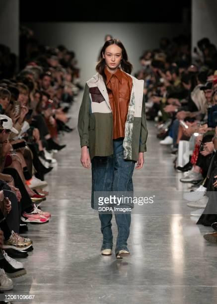 Model walks the runway during the Ricardo Preto fashion show at the Modalisboa Awake - Lisbon Fashion Week.
