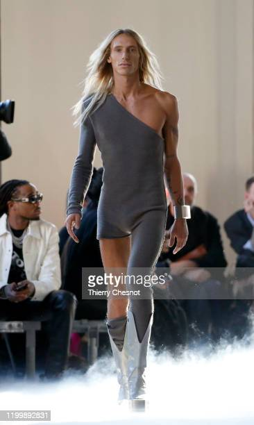 A model walks the runway during the Rick Owens Menswear Fall/Winter 20202021 show as part of Paris Fashion Week on January 16 2020 in Paris France