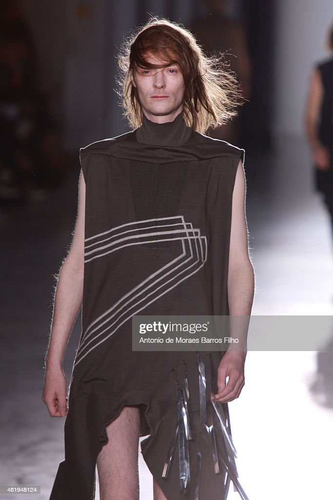 A model walks the runway during the Rick Owens Menswear