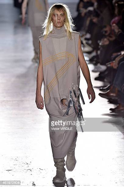 A model walks the runway during the Rick Owens Menswear Fall/Winter 20152016 show as part of Paris Fashion Week on January 22 2015 in Paris France