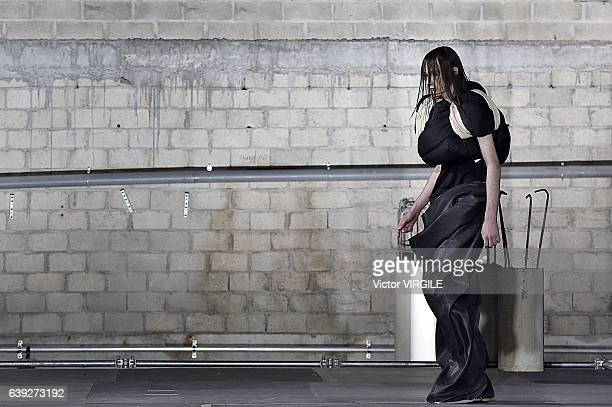 A model walks the runway during the Rick Owens Menswear Fall/Winter 20172018 show as part of Paris Fashion Week on January 19 2017 in Paris France