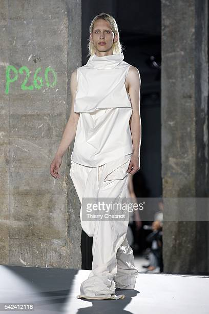 Model walks the runway during the Rick Owens Menswear Spring/Summer 2017 show as part of Paris Fashion Week on June 23, 2016 in Paris, France.