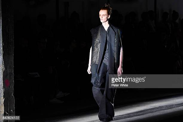 A model walks the runway during the Rick Owens Menswear Spring/Summer 2017 show as part of Paris Fashion Week on June 23 2016 in Paris France