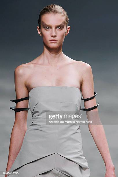 A model walks the runway during the Rick Owens Ready to Wear Spring/Summer 2011 show during Paris Fashion Week at Palais De Tokyo on September 30...