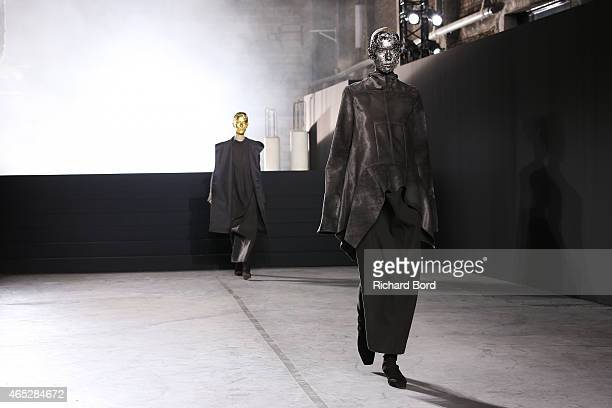 A model walks the runway during the Rick Owens show as part of the Paris Fashion Week Womenswear Fall/Winter 2015/2016 at Palais de Tokyo on March 5...