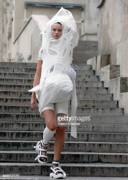 A model walks the runway during the Rick Owens show as part of the Paris Fashion Week Womenswear Spring/Summer 2018 on September 28 2017 in Paris...