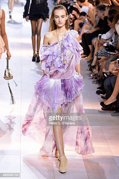 A model walks the runway during the Roberto Cavalli fashion show as part of Milan Fashion Week Spring/Summer 2016 on September 26 2015 in Milan Italy