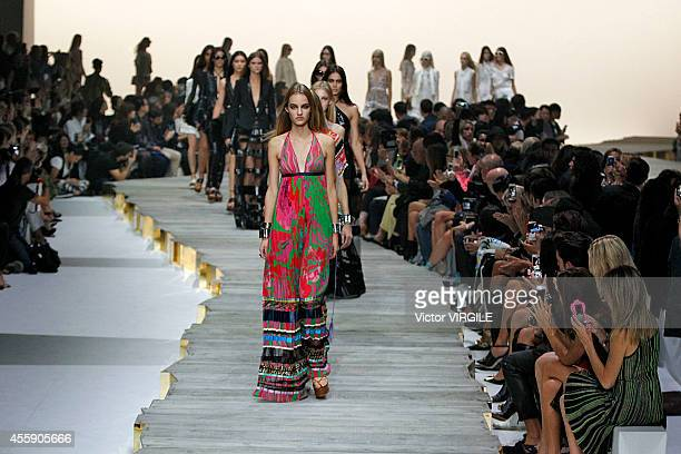 A model walks the runway during the Roberto Cavalli Ready to Wear show as a part of Milan Fashion Week Womenswear Spring/Summer 2015 on September 20...
