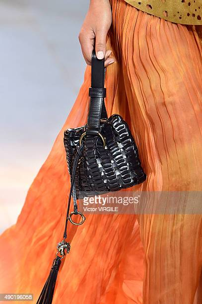A model walks the runway during the Roberto Cavalli Ready to Wear fashion show as part of Milan Fashion Week Spring/Summer 2016 on September 26 2015...