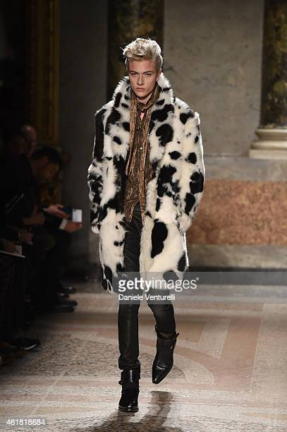 f4171b4ced People: Carmel Walsh. A model walks the runway during the Roberto Cavalli  show as a part of Milan Menswear