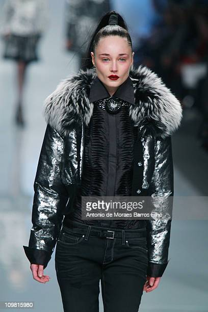 Model walks the runway during the Roccobarocco show as part of Milan Fashion Week Womenswear Autumn/Winter 2011 on February 23, 2011 in Milan, Italy.
