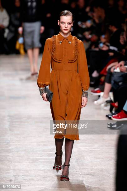 A model walks the runway during the Rochas designed by Marco Zanini show as part of the Paris Fashion Week Womenswear Fall/Winter 2017/2018 on March...