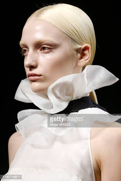 A model walks the runway during the Rochas Ready to Wear fashion show as part of the Paris Fashion Week Womenswear Fall/Winter 2019/2020 on February...