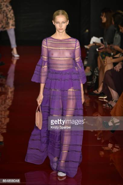 A model walks the runway during the Rochas show as part of Paris Fashion Week Womenswear Spring/Summer 2018 on September 27 2017 in Paris France