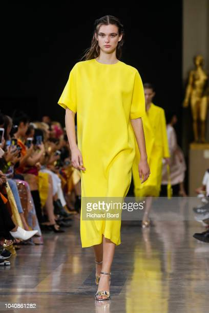 A model walks the runway during the Rochas show as part of the Paris Fashion Week Womenswear Spring/Summer 2019 on September 26 2018 in Paris France